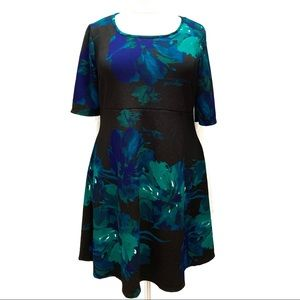 AVENUE Fit-n-Flare Black Floral Dress